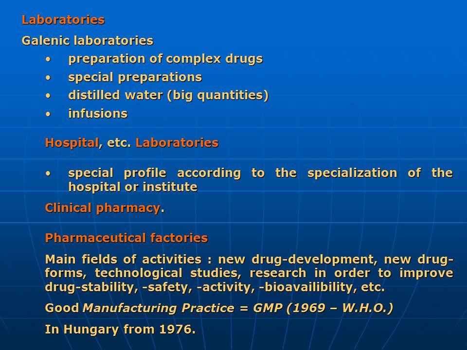 Laboratories Galenic laboratories preparation of complex drugspreparation of complex drugs special preparations special preparations distilled water (