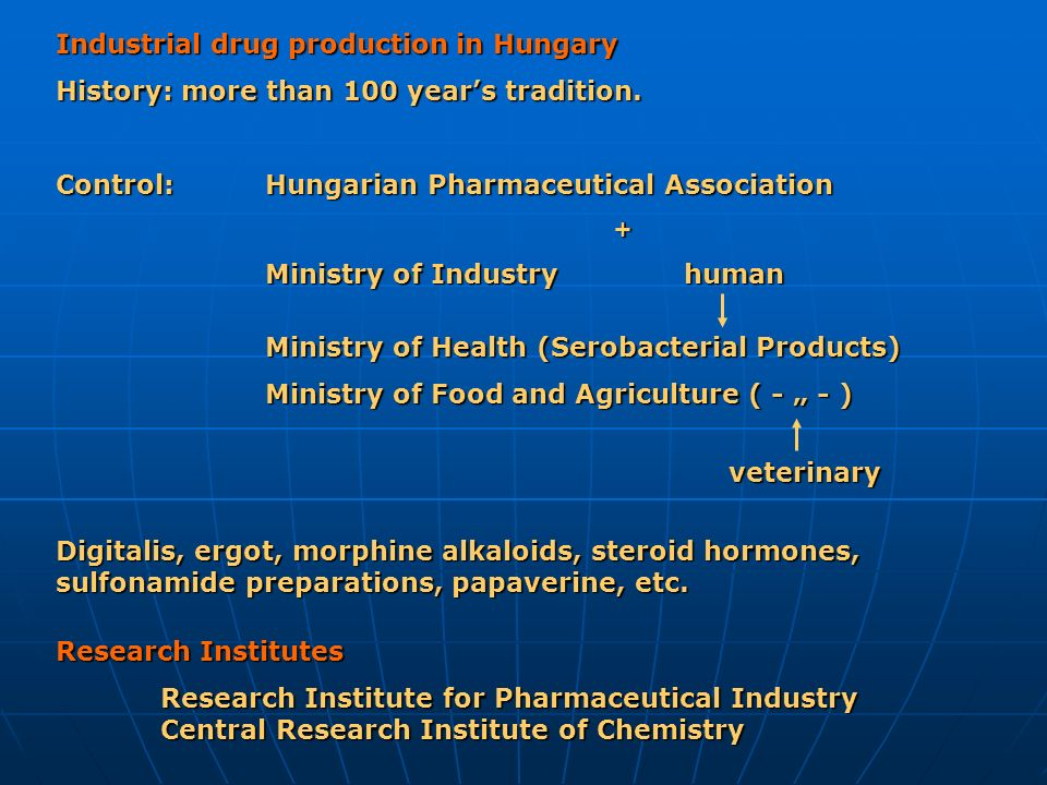 Industrial drug production in Hungary History: more than 100 years tradition. Control: Hungarian Pharmaceutical Association + Ministry of Industryhuma