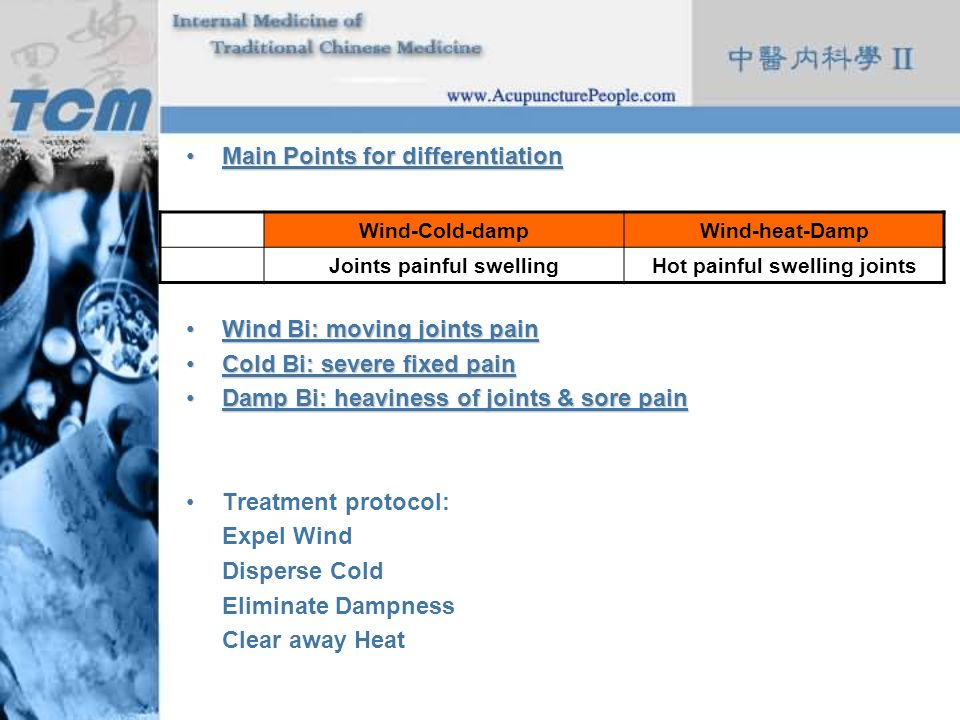 Main Points for differentiationMain Points for differentiation Wind Bi: moving joints painWind Bi: moving joints pain Cold Bi: severe fixed painCold B