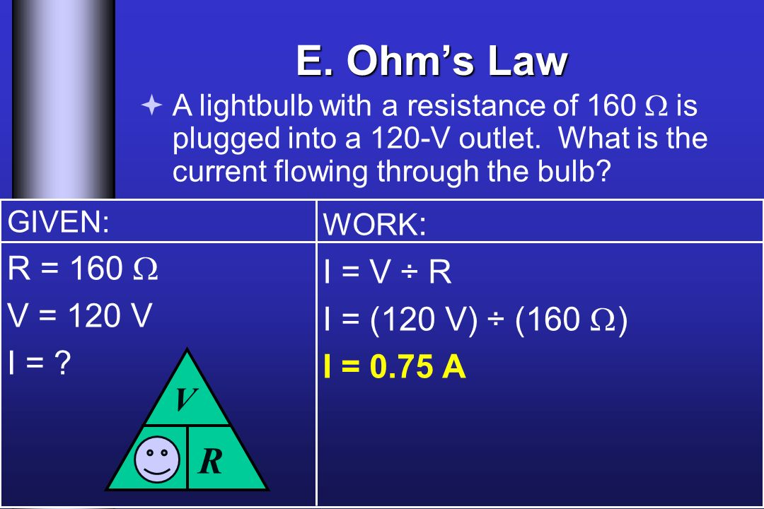 E. Ohms Law A lightbulb with a resistance of 160 is plugged into a 120-V outlet.