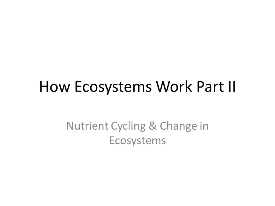 How Ecosystems Work Part II Nutrient Cycling & Change in Ecosystems