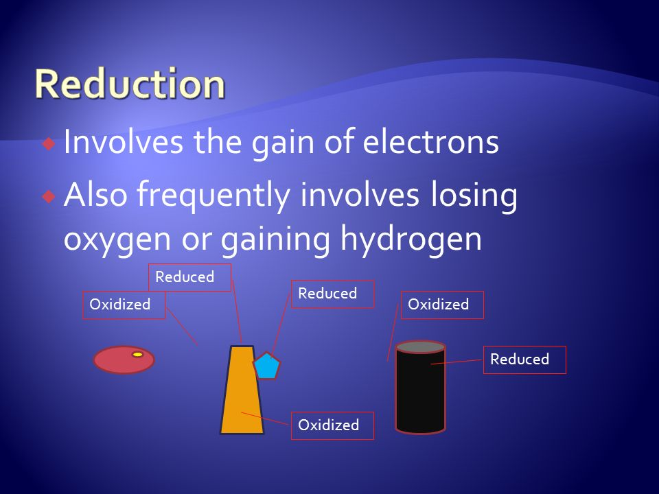 Involves the gain of electrons Also frequently involves losing oxygen or gaining hydrogen Oxidized Reduced Oxidized Reduced Oxidized Reduced