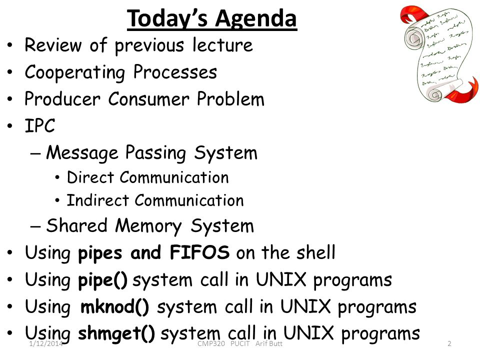 Todays Agenda Review of previous lecture Cooperating Processes Producer Consumer Problem IPC – Message Passing System Direct Communication Indirect Co