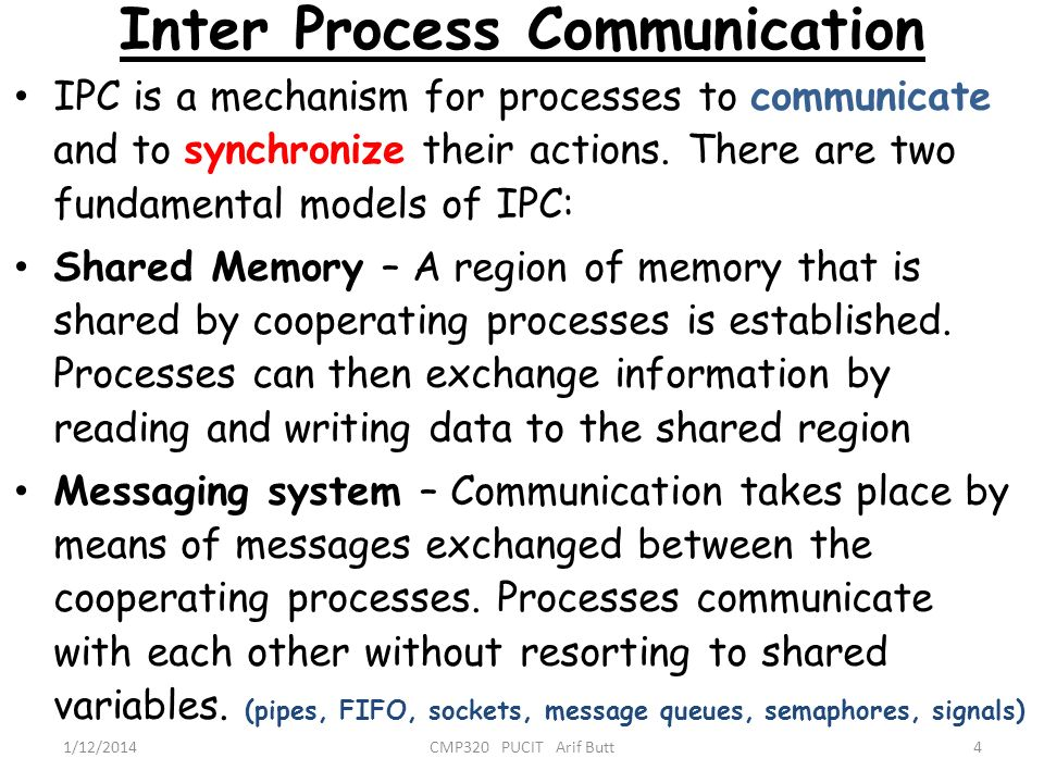 Inter Process Communication 4CMP320 PUCIT Arif Butt1/12/2014 IPC is a mechanism for processes to communicate and to synchronize their actions. There a