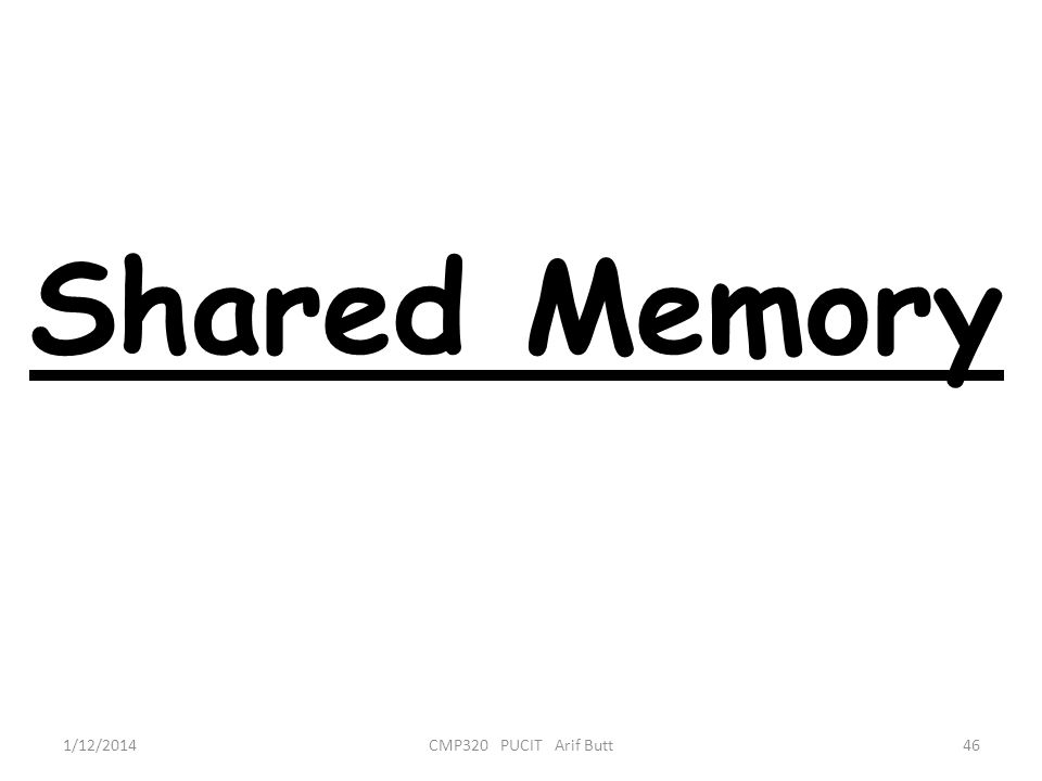 Shared Memory 46CMP320 PUCIT Arif Butt1/12/2014