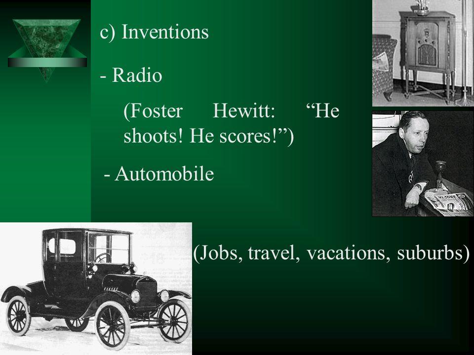 c) Inventions - Radio (Foster Hewitt: He shoots.
