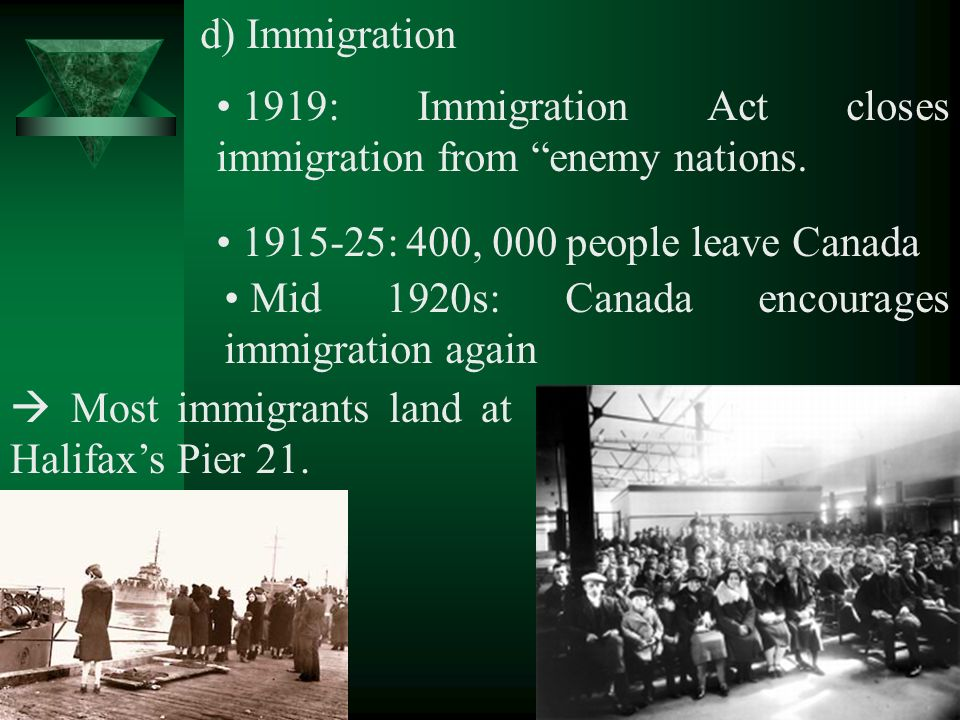 d) Immigration 1919: Immigration Act closes immigration from enemy nations.