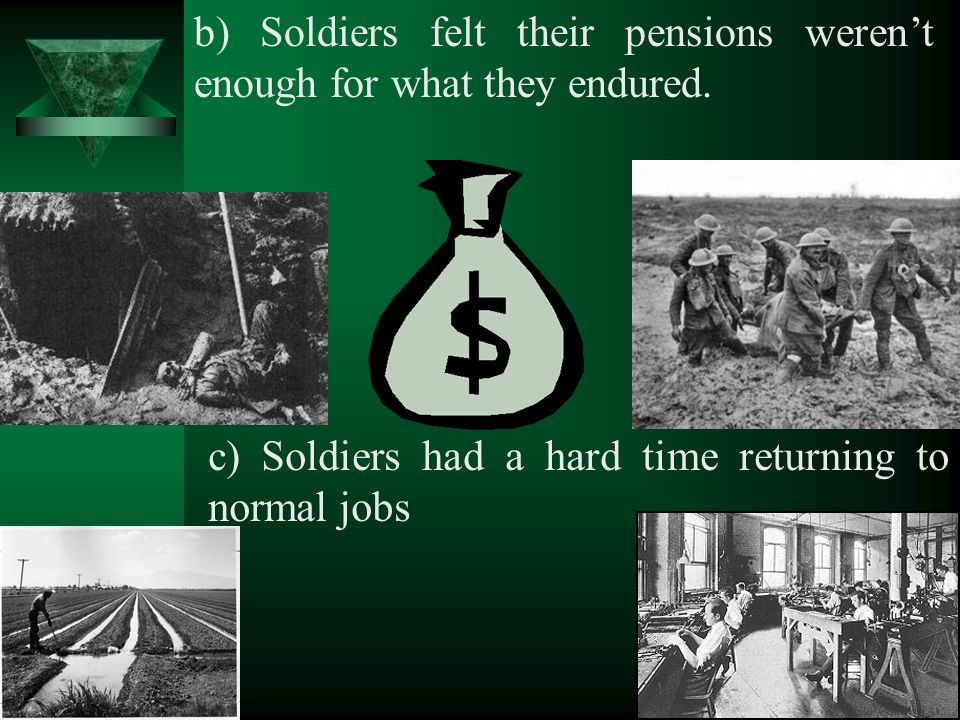 b) Soldiers felt their pensions werent enough for what they endured.