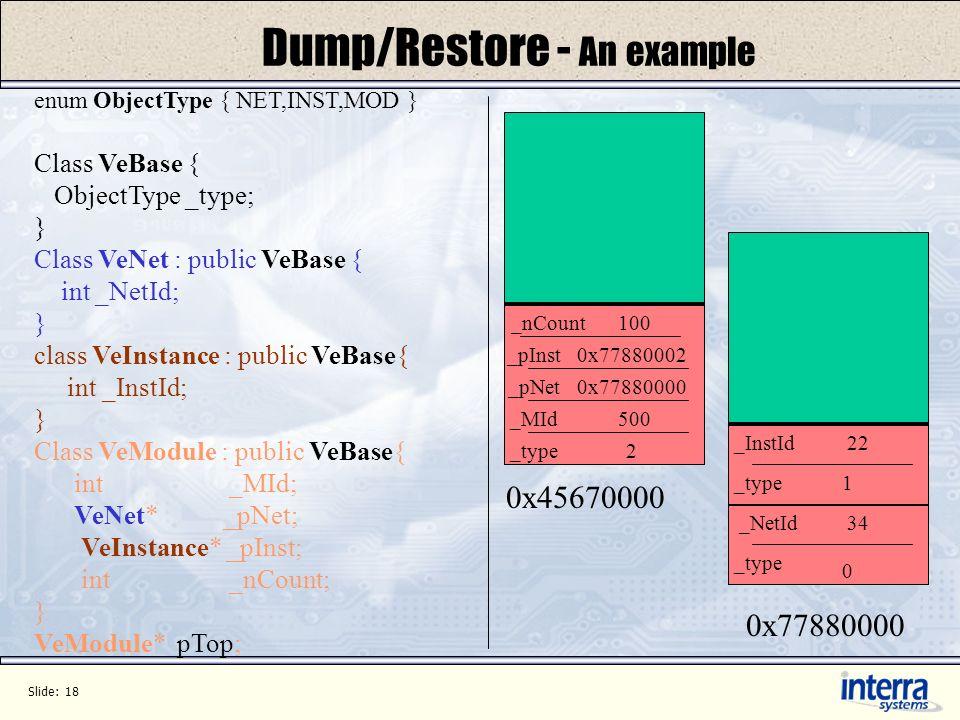 Slide: 18 Dump/Restore - An example enum ObjectType { NET,INST,MOD } Class VeBase { ObjectType _type; } Class VeNet : public VeBase { int _NetId; } cl