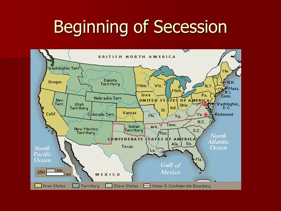 The beginning of secession South Carolina leaves the Union GA, AL, FL, MS, LA, TX Approving secession ordinances Buffer states attempt to force compromise President Buchanan John Floyd
