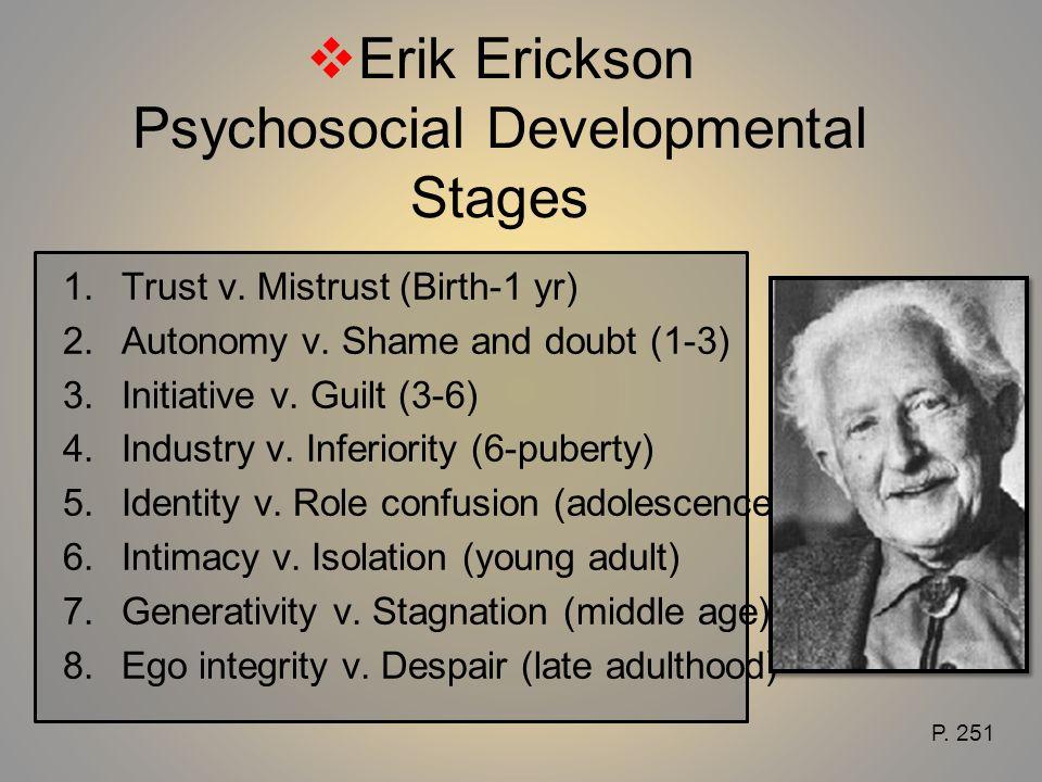 Erik Erickson Psychosocial Developmental Stages 1. Trust v. Mistrust (Birth-1 yr) 2. Autonomy v. Shame and doubt (1-3) 3. Initiative v. Guilt (3-6) 4.
