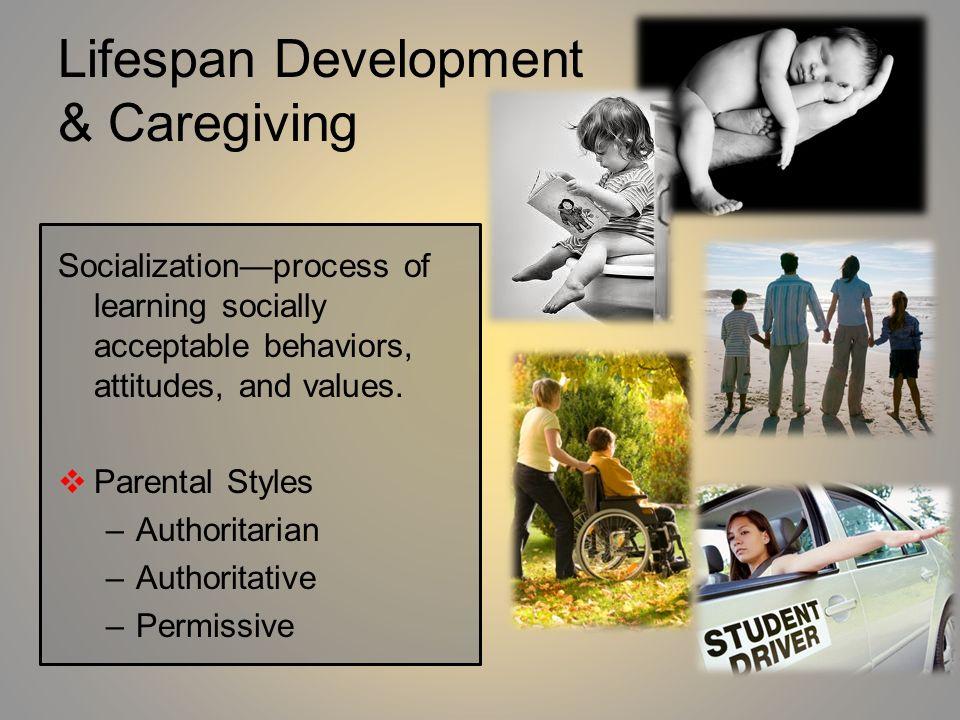 Lifespan Development & Caregiving Socializationprocess of learning socially acceptable behaviors, attitudes, and values. Parental Styles –Authoritaria
