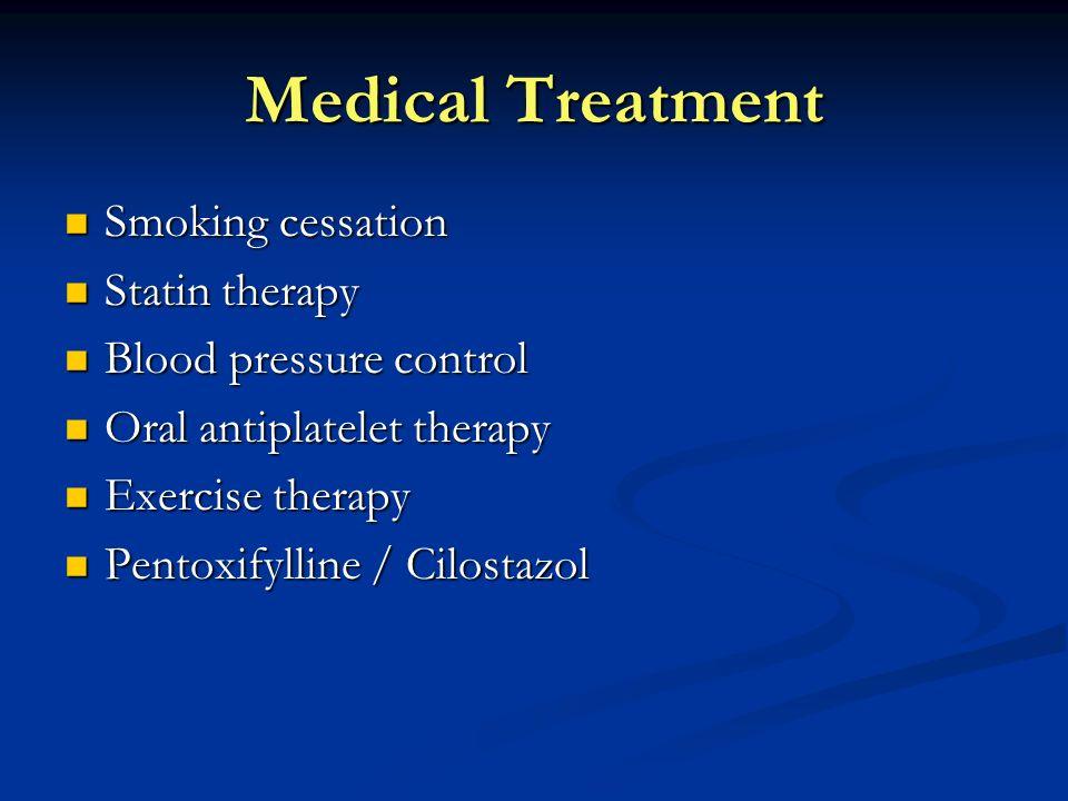 Medical Treatment Smoking cessation Smoking cessation Statin therapy Statin therapy Blood pressure control Blood pressure control Oral antiplatelet th