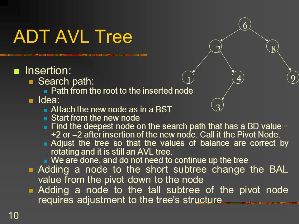 10 ADT AVL Tree Insertion: Search path: Path from the root to the inserted node Idea: Attach the new node as in a BST. Start from the new node Find th