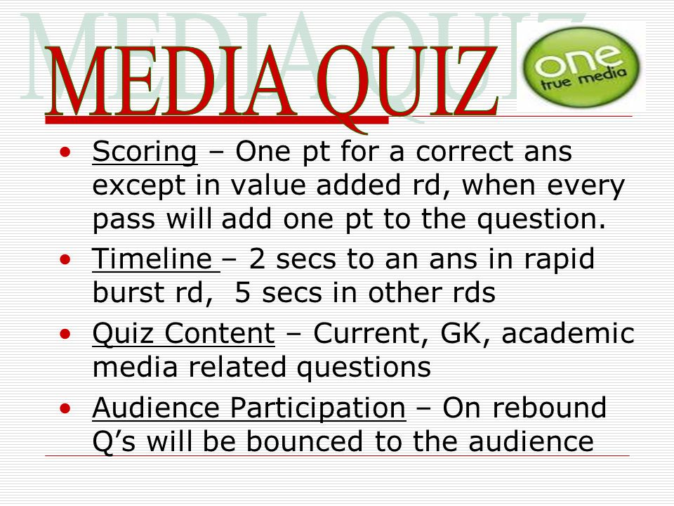 Scoring – One pt for a correct ans except in value added rd, when every pass will add one pt to the question. Timeline – 2 secs to an ans in rapid bur