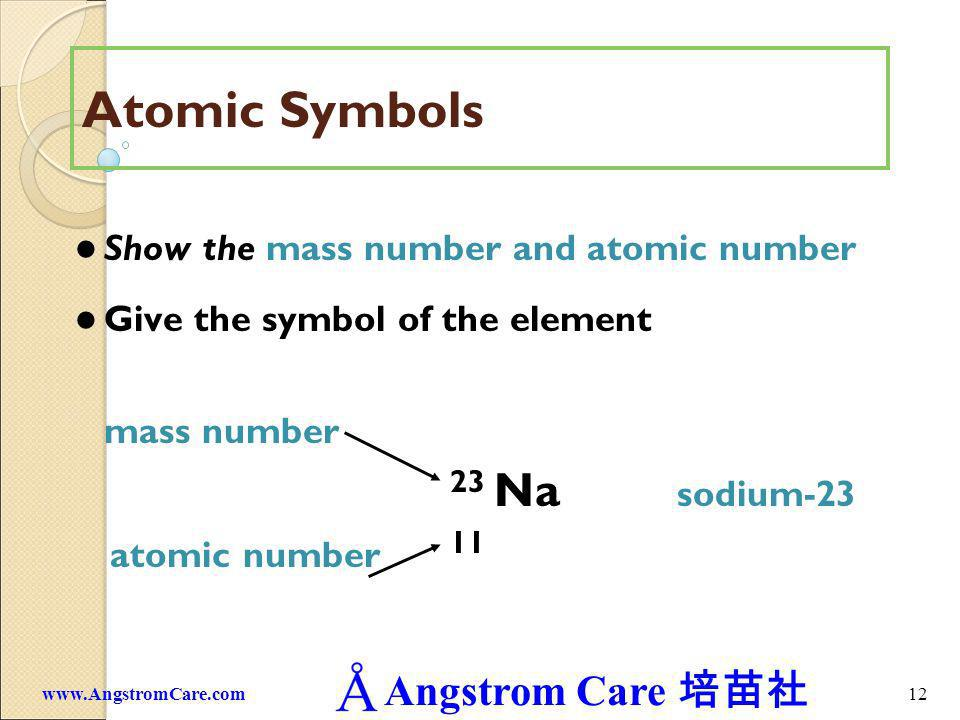 Angstrom Care 12www.AngstromCare.com Atomic Symbols Show the mass number and atomic number Give the symbol of the element mass number 23 Na sodium-23