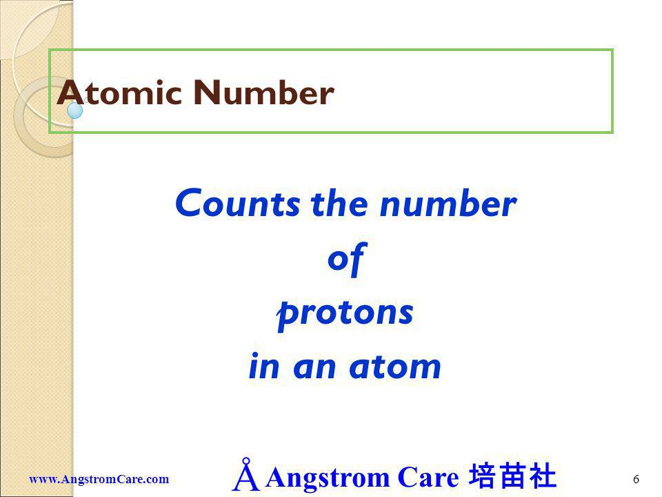 Angstrom Care 7www.AngstromCare.com Atomic Number on the Periodic Table 11 Na Atomic Number Symbol