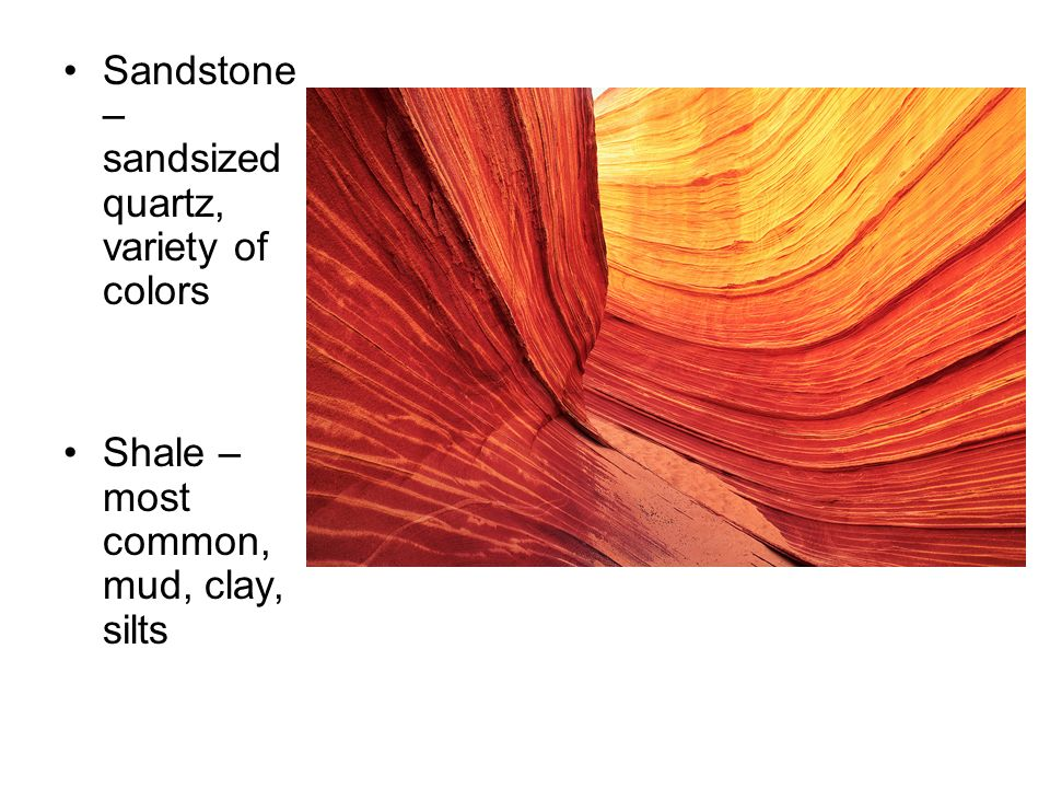 Sandstone – sandsized quartz, variety of colors Shale – most common, mud, clay, silts