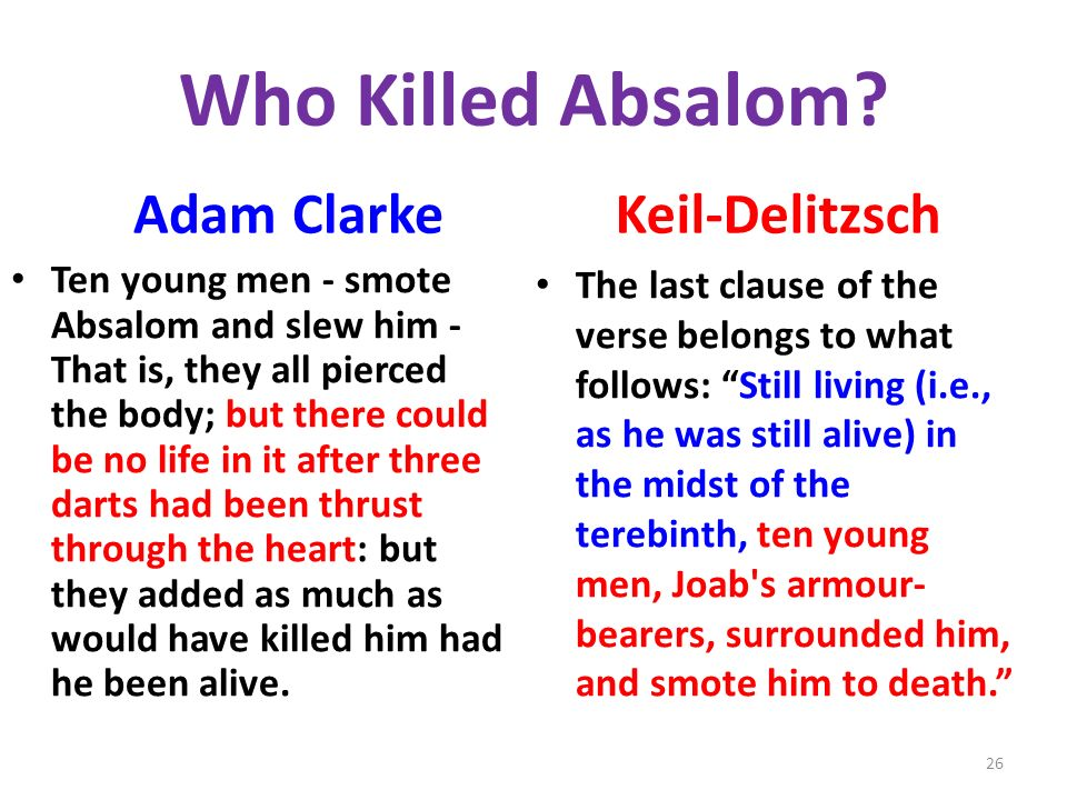 Who Killed Absalom.