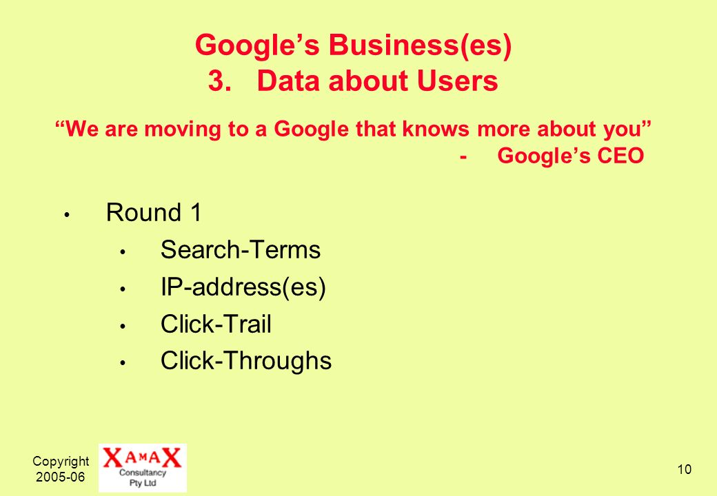 Copyright 2005-06 10 Googles Business(es) 3. Data about Users We are moving to a Google that knows more about you - Googles CEO Round 1 Search-Terms I