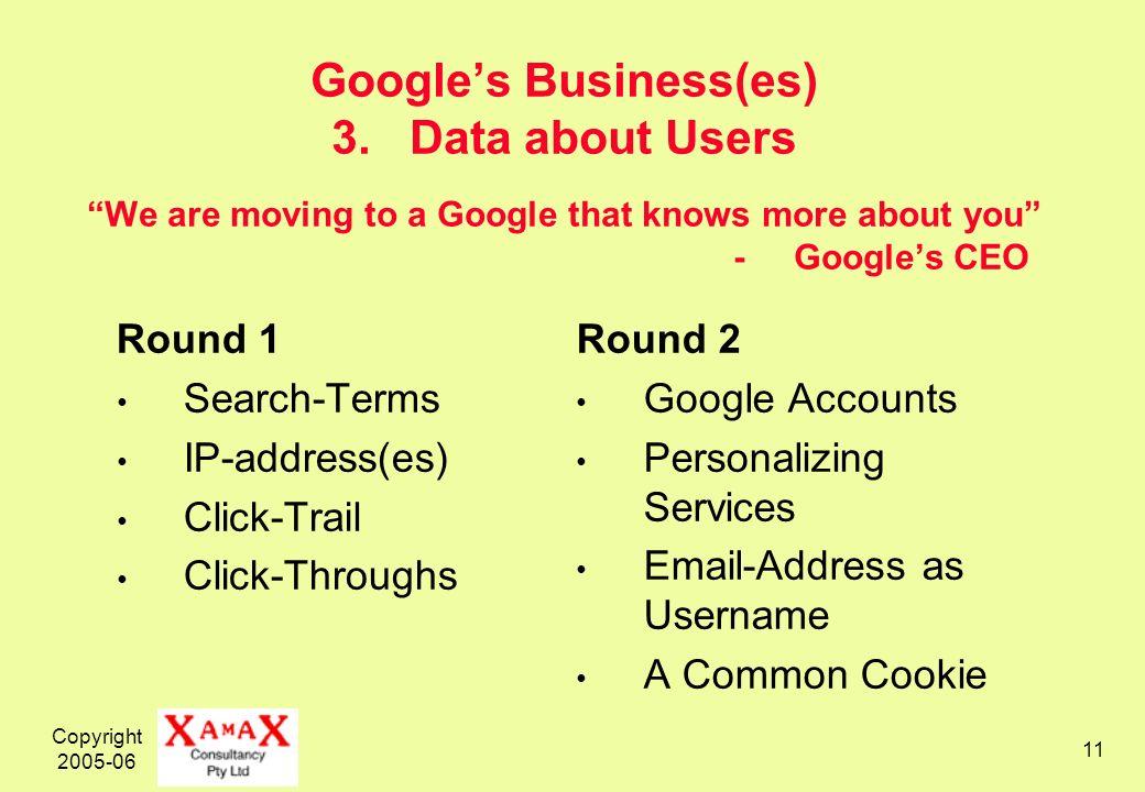 Copyright 2005-06 11 Googles Business(es) 3.