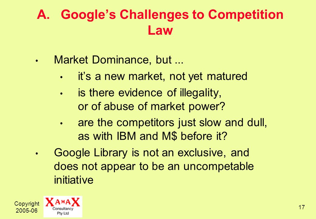 Copyright A. Googles Challenges to Competition Law Market Dominance, but...