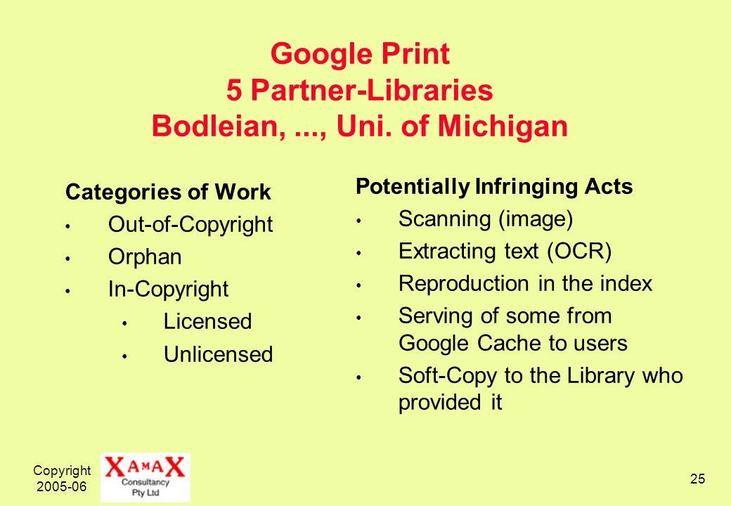 Copyright 2005-06 25 Google Print 5 Partner-Libraries Bodleian,..., Uni.