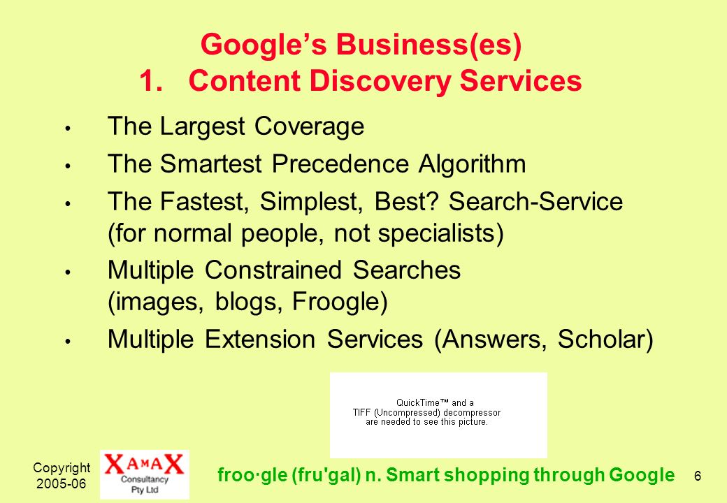 Copyright 2005-06 6 Googles Business(es) 1. Content Discovery Services The Largest Coverage The Smartest Precedence Algorithm The Fastest, Simplest, B