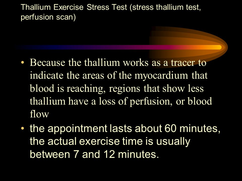 Because the thallium works as a tracer to indicate the areas of the myocardium that blood is reaching, regions that show less thallium have a loss of