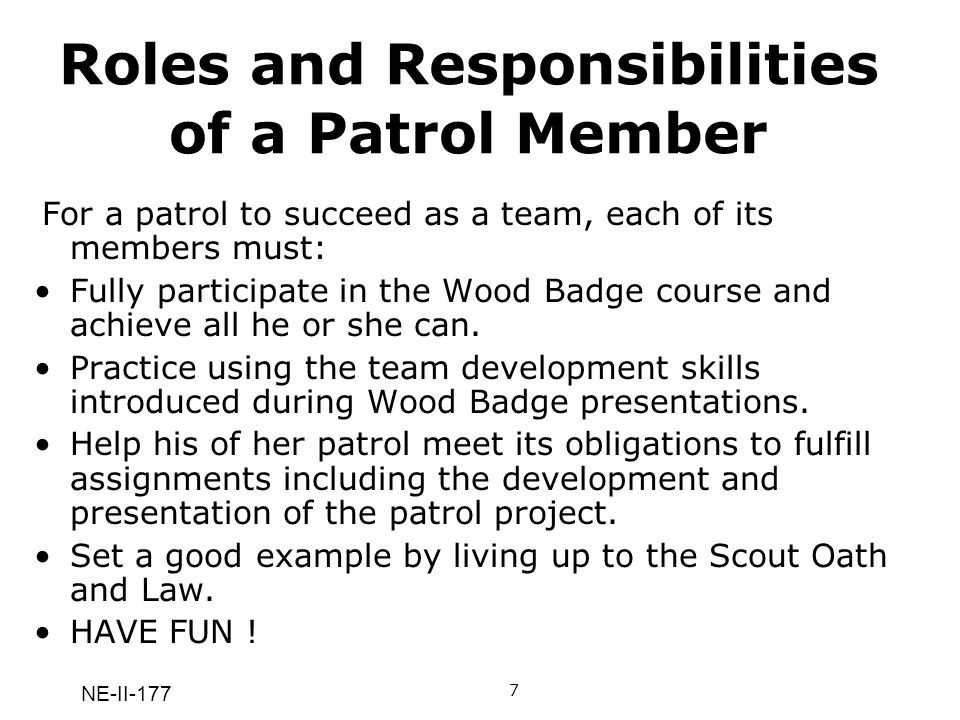NE-II-177 Roles and Responsibilities of a Patrol Member For a patrol to succeed as a team, each of its members must: Fully participate in the Wood Bad