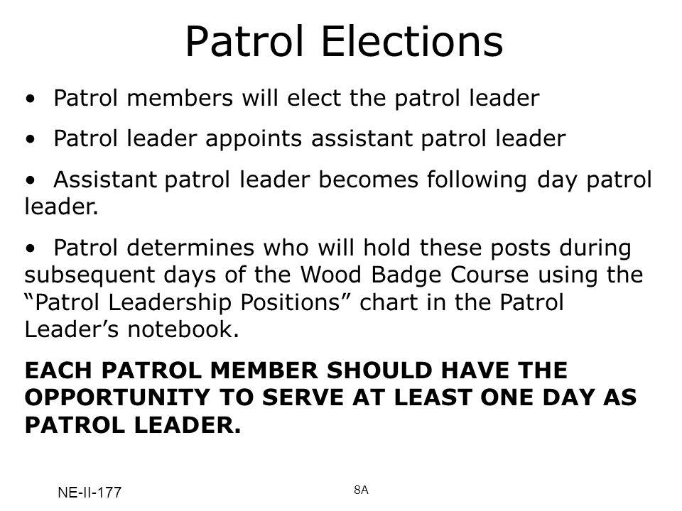 NE-II-177 Patrol Elections 8A Patrol members will elect the patrol leader Patrol leader appoints assistant patrol leader Assistant patrol leader becom