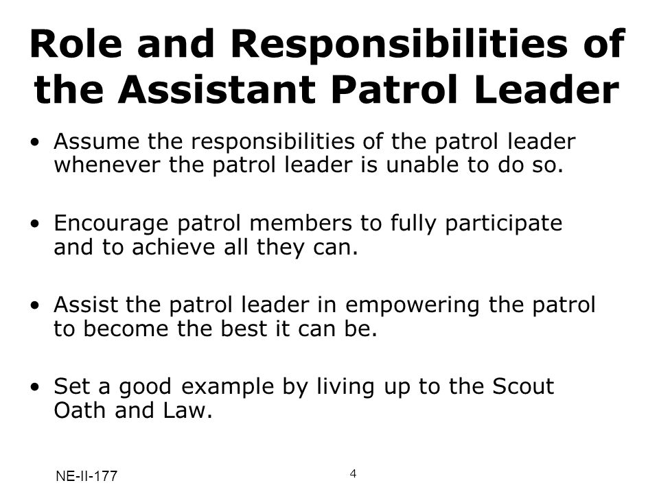 NE-II-177 Role and Responsibilities of the Assistant Patrol Leader Assume the responsibilities of the patrol leader whenever the patrol leader is unab