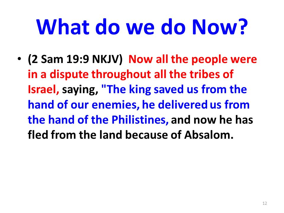 What do we do Now? (2 Sam 19:9 NKJV) Now all the people were in a dispute throughout all the tribes of Israel, saying,