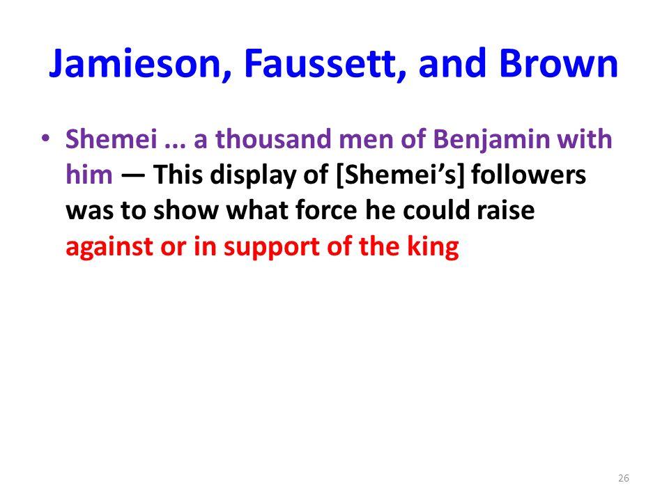 Jamieson, Faussett, and Brown Shemei...