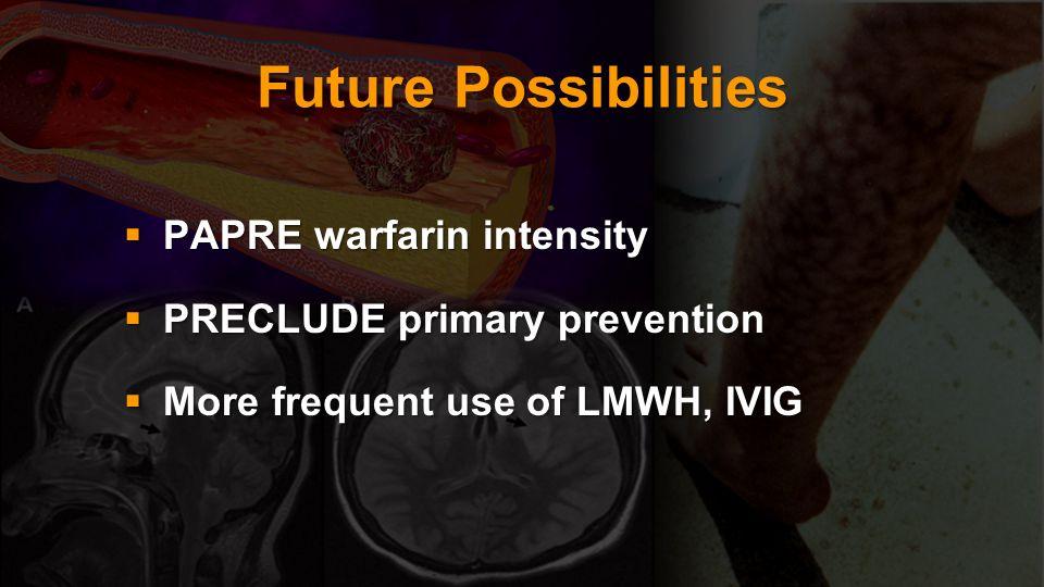 Future Possibilities PAPRE warfarin intensity PAPRE warfarin intensity PRECLUDE primary prevention PRECLUDE primary prevention More frequent use of LM