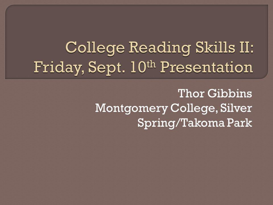 Thor Gibbins Montgomery College, Silver Spring/Takoma Park