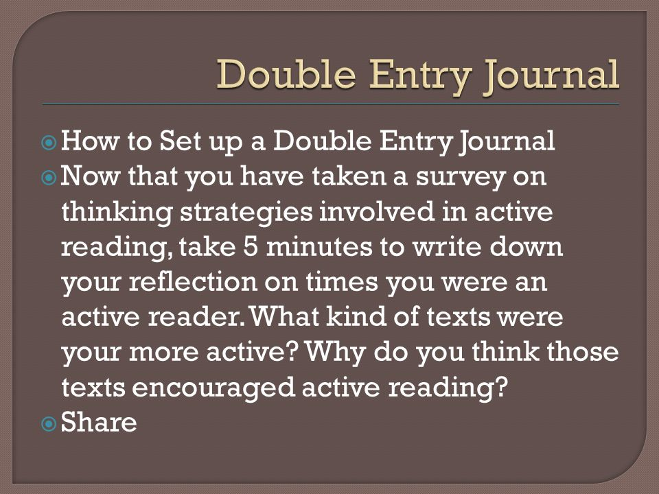 How to Set up a Double Entry Journal Now that you have taken a survey on thinking strategies involved in active reading, take 5 minutes to write down your reflection on times you were an active reader.