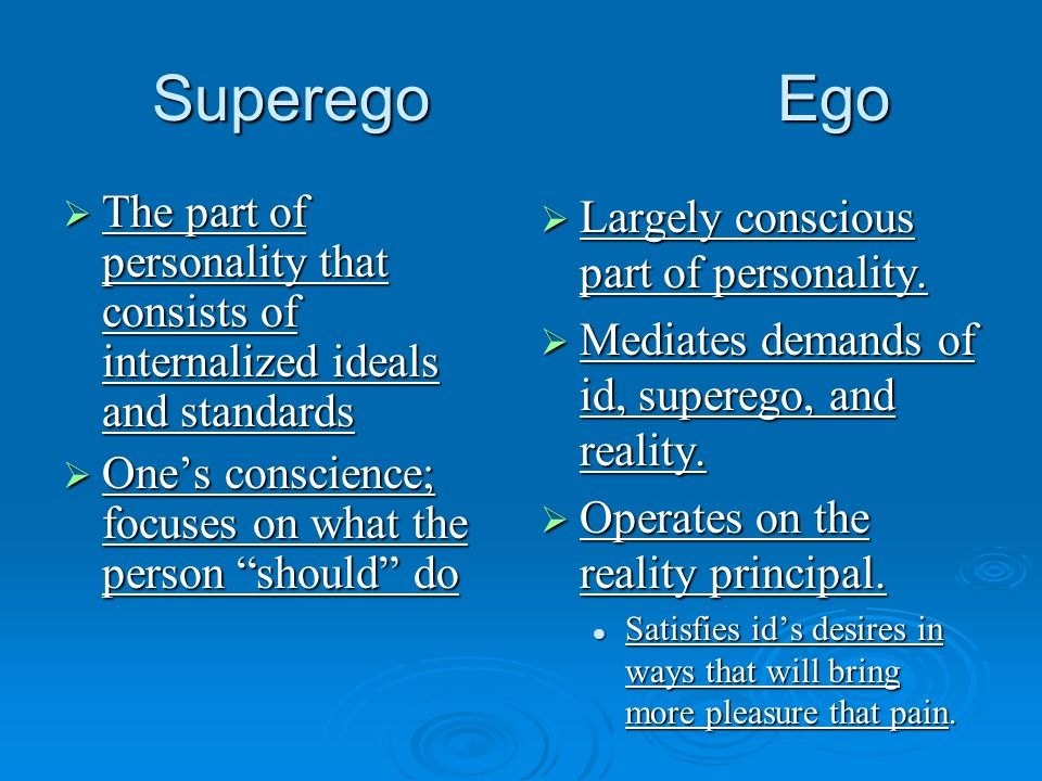 SuperegoEgo The part of personality that consists of internalized ideals and standards The part of personality that consists of internalized ideals an