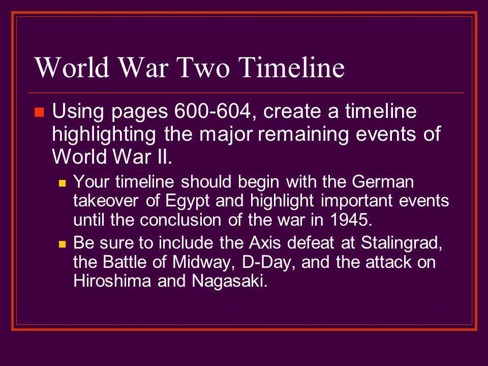 World War Two Timeline Using pages 600-604, create a timeline highlighting the major remaining events of World War II.