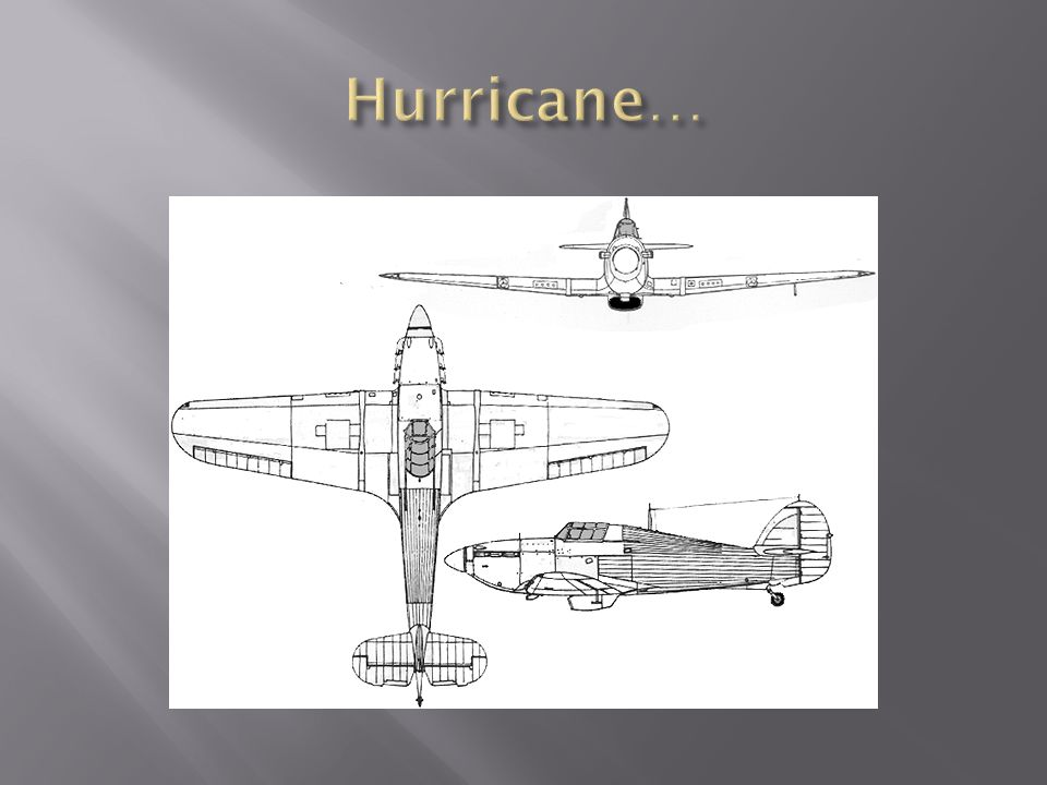 Hurricane… first RAF plane with a top speed of over 300 mph… 8 machine guns in the wings… (gets rid of synchronizing gear) 1,715 Hurricanes flew with
