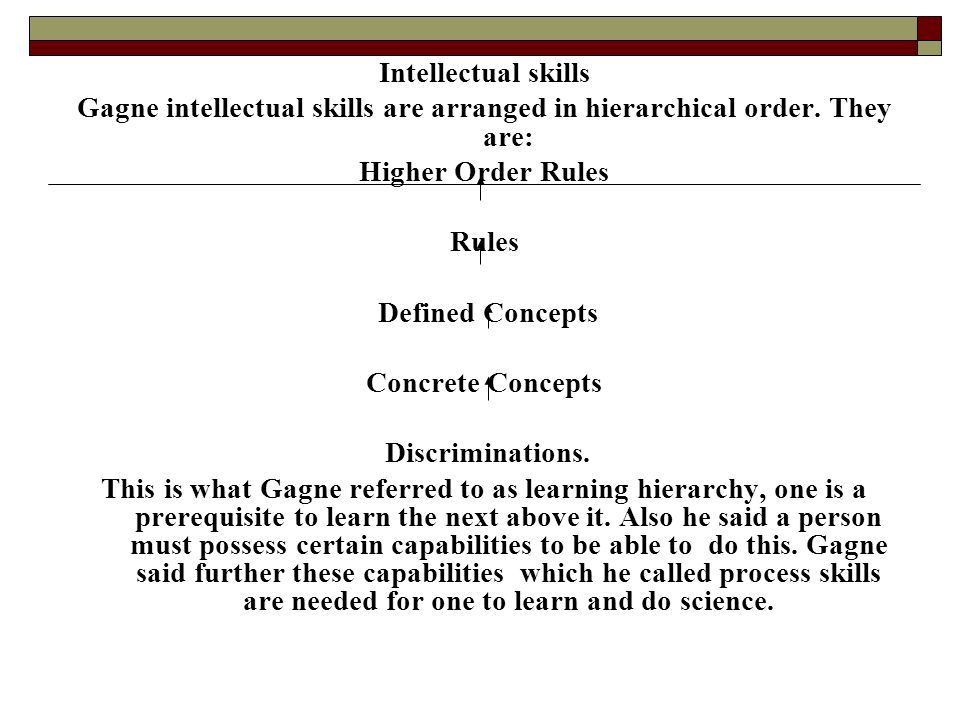 Intellectual skills Gagne intellectual skills are arranged in hierarchical order. They are: Higher Order Rules Rules Defined Concepts Concrete Concept