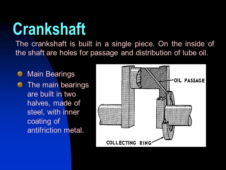 Main Bearings The main bearings are built in two halves, made of steel, with inner coating of antifriction metal. The crankshaft is built in a single