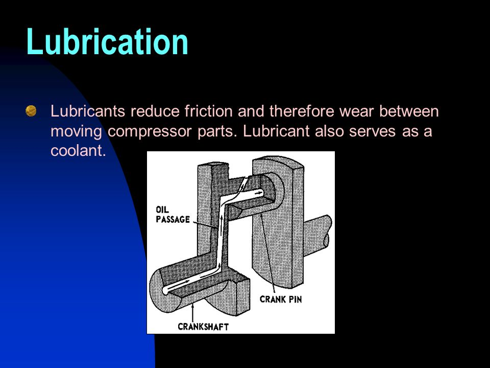 Lubrication Lubricants reduce friction and therefore wear between moving compressor parts. Lubricant also serves as a coolant.