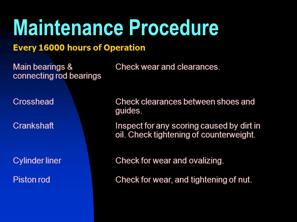 Every 16000 hours of Operation Main bearings & connecting rod bearings Check wear and clearances. CrossheadCheck clearances between shoes and guides.