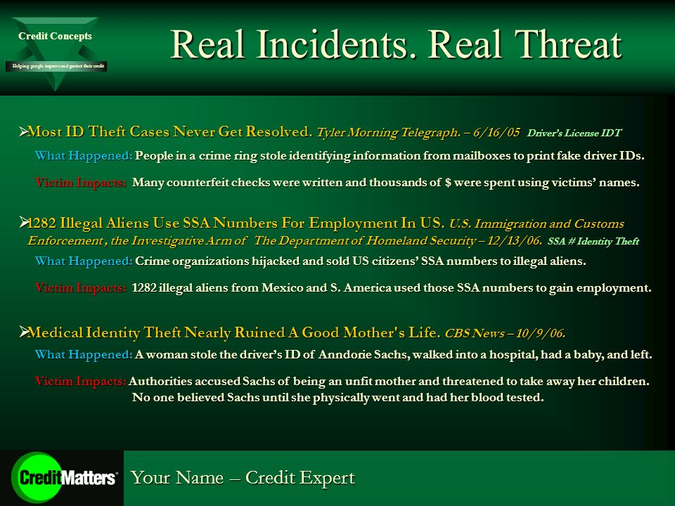 Helping people improve and protect their credit Credit Concepts Your Name – Credit Expert Real Incidents.