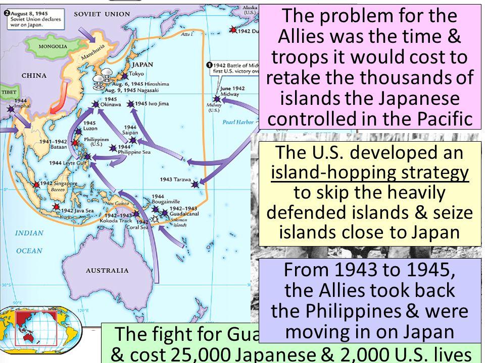 In 1945, the Allies won the islands of Iwo Jima & Okinawa Iwo Jima From these islands, the U.S.