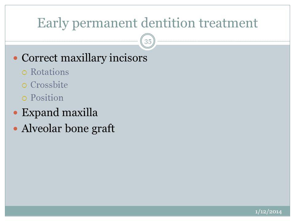 Early permanent dentition treatment Correct maxillary incisors Rotations Crossbite Position Expand maxilla Alveolar bone graft 1/12/2014 35