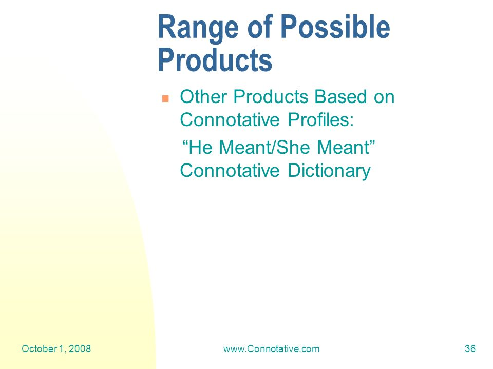 October 1, 2008www.Connotative.com36 Range of Possible Products Other Products Based on Connotative Profiles: He Meant/She Meant Connotative Dictionary
