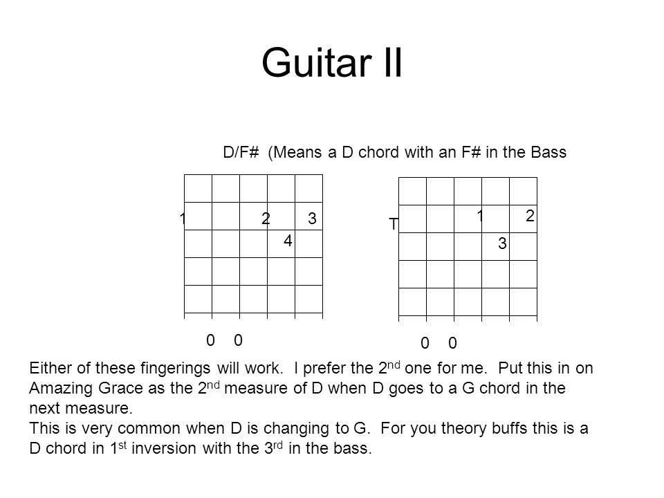 Guitar II 12 3 4 D/F# (Means a D chord with an F# in the Bass 0 12 3 T Either of these fingerings will work.
