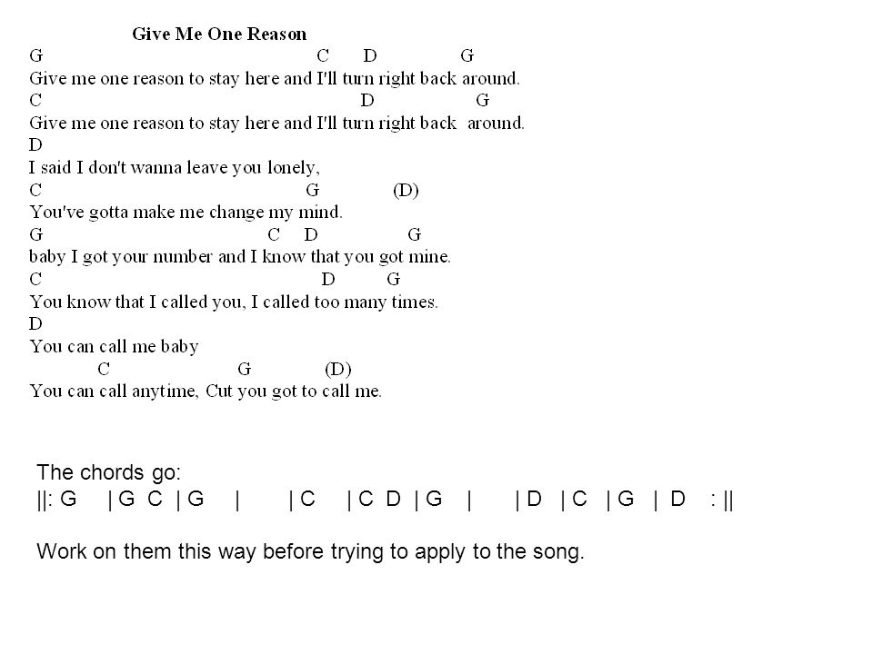 The chords go: ||: G | G C | G | | C | C D | G | | D | C | G | D : || Work on them this way before trying to apply to the song.